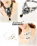 Black/White Lace Pendant Necklace with Gem