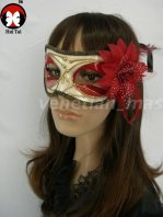 Manual White Red Costume Party Mask