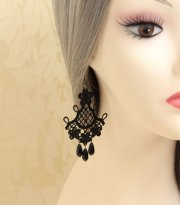 Black Lace Gothic Earrings EH-33