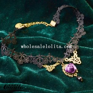 Handmade Gothic Women Lace Pendant Necklace with Purple Rose