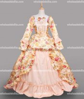 18th Century Rococo Gold Marie Antoinette Victorian Dress Prom/Wedding Dress Ball Gown