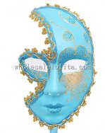 Blue Handheld Venetian Masquerad Mask for Women
