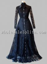 Gothic Black Lace Long Sleeves Victorian Inspired Gown