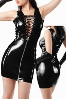 Sexy Black Front Zipper PVC Club Dress