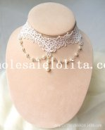 Bride's/Bridesmaid's Accessory of Gothic White Lace Collar Choker Pearl Pendant Chain Necklace