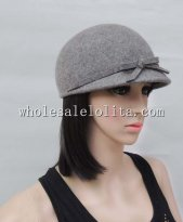 British Fashion Winter Wool Bow Ladies Caps