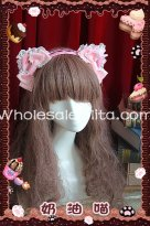 Sweet Pink Cream Cat Ears KC Lolita Head Wear