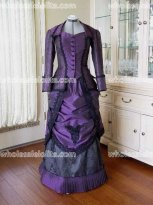 Top Sale Victorian Purple Satin Day Dress