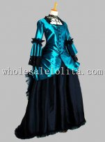 Greenish Blue and Black Victorian 1870/90s Bustle Day Dress Reenactment Clothing