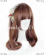 Harajuku Mori Girl Short 45cm Brown & Smoky Pink BOBO Sweet Lolita Wig