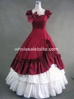 Elegant Red and White Southern Belle Cotton Civil War Prom Dress Ball Gown