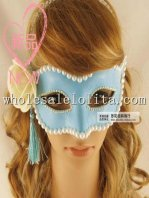 Hand Made Half Face Masquerade Mask with Bead Braiding and Flower