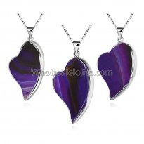 Fashionable Platinum Necklace with Purple leaves Pendant for Versatile Occasions