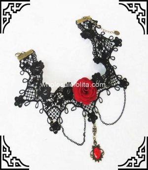 Vintage Gothic Dress Up Necklace with Rose