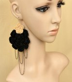 Black Wool Rose Gothic Lolita Earrings Eh-64