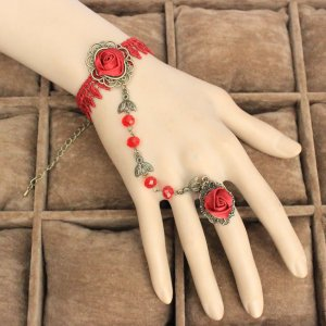 Gothic Red Rose Crystal Lace Lolita Bracelet