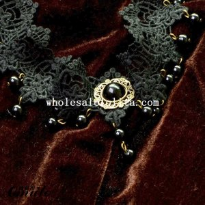 Charm Black Lace Pendant Pearl Chain Necklace for Cosplay
