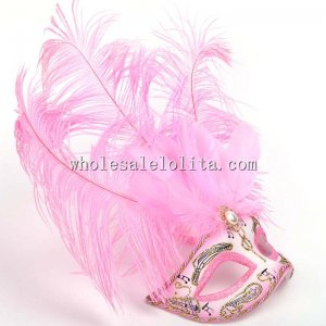 Carnival Cosplay Half Face Venetian Pink Mask with Feather
