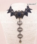 Vintage Gothic Black Lace Collar Choker Pendant Necklace