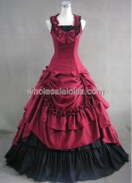 Gothic Black and Red Civil War Southern Belle Lolita Ball Gown Dress