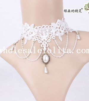 Pearl Pendant Women's White Lace Collar Choker Necklace for Gift