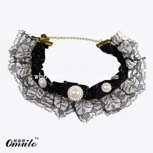 Fashion Gothic Black Lace Collar Choker Necklace with Pearl