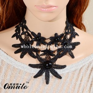Gothic Vintage Royal Flower Black Lace Collar Choker Necklace