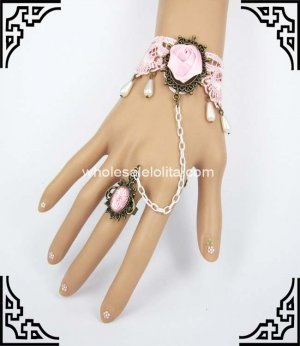 UK Popular Pink Lace Retro Court Pearl Bracelet & Ring