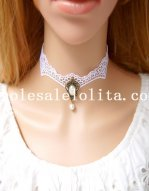 Gothic White Lace Collar Choker Pearl Necklace with Pearl Pendant for Gift