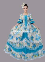 Sky Blue Floral Marie Antoinette Inspired Theatre Dress Dance Dress