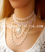 Graceful White/Pink Lace Pearl Chain Collar Choker Necklace for Wedding Prom