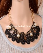 Elegant Pearl Pendant Black Lace Collar Choker Necklace