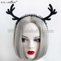 Black Antlers Lace Halloween Headband Masquerade Accessories