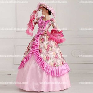 18th Century Rococo Style Pink Marie Antoinette Inspired Prom Dress Wedding Ball Gown