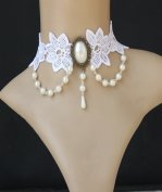 Gothic White Gem Lace Lolita Necklace MTN57