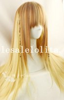70cm Japan Long Straight Lolita Flaxen Wig