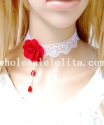 Royal White Lace Gothic Collar Choker Ruby Pendant Necklace with Red Rose