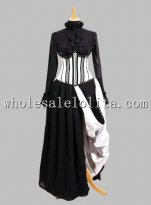 Gothic Black and White Princess Cosplay Long Dress Three Piece