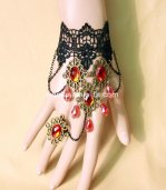 New Black Vintage Lace Red Crystal Ladies Bracelet & Ring