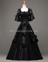 18th Century Gothic Black Vintage Ball Gown Theatre Clothing Halloween Costume