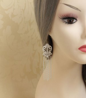 White Lace Gothic Earrings EH-30