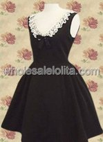 Sleeveless Lace Bow Cotton Gothic Lolita Dress