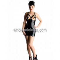 Sexy Black Latex Suspender Dress with Open Chest