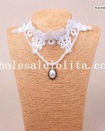 Graceful White Lace Flower Pearl Chain Pendant Necklace for Women