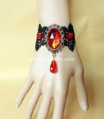 Gothic Black Lace and Red Crystal Bracelet