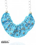 Fashion Blue Lace Beaded Skull Collar Choker Necklace