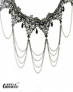 Vintage Gothic Black Lace Collar Choker Gem Pendant Necklace for Prom