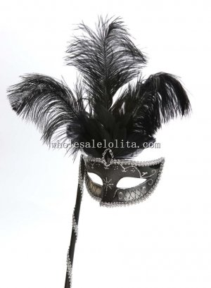 Elegant Feather Hallowen Venetian Masquerade Balls Mask on Stick