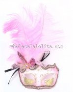 Carnival Cosplay Half Face Venetian Mask with Feather