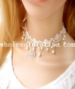 Women's Glitter Gothic White Lace Collar Choker Pearl Pendant Necklace